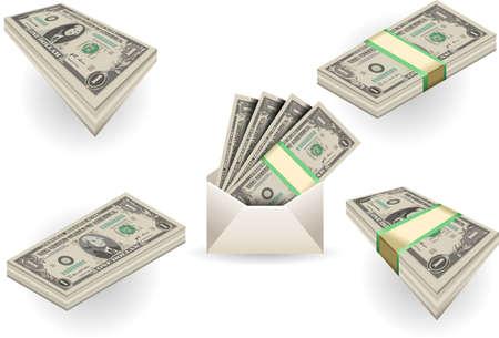 george washington: Ilustración detallada de un conjunto completo de uno billetes de dólares