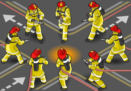 Detailed illustration of a isometric firefighter extinguisher in eight positions Vector