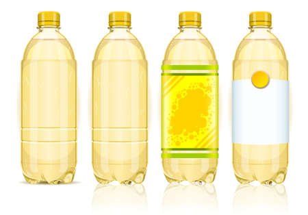 Detailed illustration of a Four yellow plastic bottles with labels Vector
