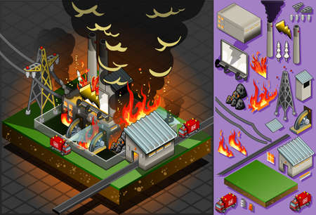building fire: Detailed illustration of a isometric disaster of coal plant fire
