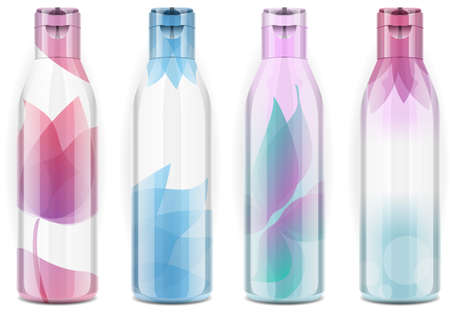 Detailed illustration of a Four plastic bottles with candid colorthis illustration has lights and shadows on a separate layer so that it can be change with just one click the fantasy of the bottle  Vector