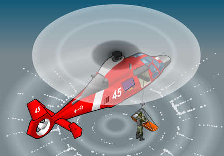 Detailed illustration of a isometric red helicopter in flight in rescue Vector