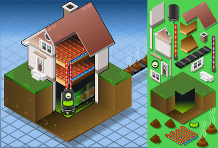 bio fuel: Detailed illustration of a Isometric house with bio fuel boiler in hot production Illustration