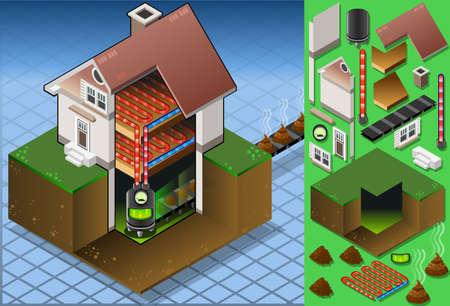 biomasa: Ilustración detallada de una casa isométrica con calderas de biocombustibles en la producción caliente