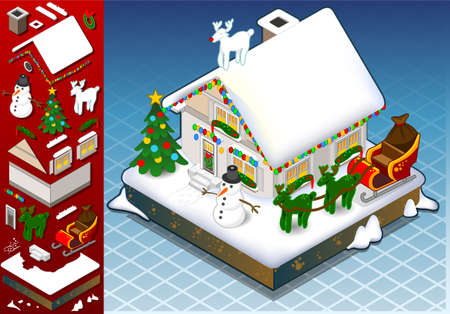 hedge trees: Detailed illustration of a isometri christmas Snow Capped House with decoration set