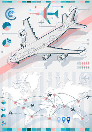 Detailed illustration of a infographic set elements with airplane in various colors Vector