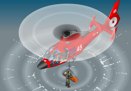 helicopter rescue: Detailed illustration of a isometric red helicopter in flight in rescue