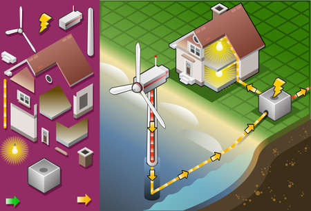 resourceful: Detailed illustration of a Isometric house with offshore wind turbines in production of energy