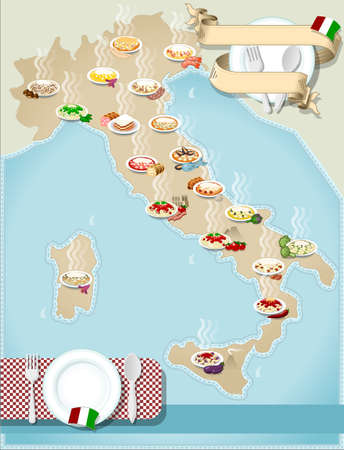 mediterranean cuisine: Detailed illustration of a Map of distribution Italian pasta