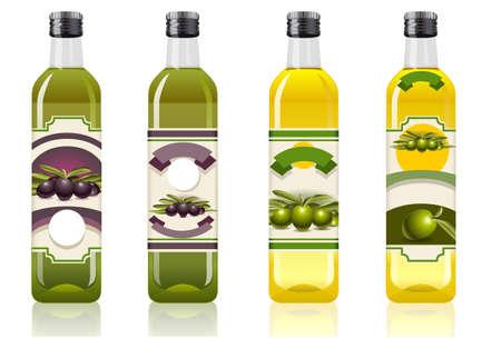 aceite de oliva: ilustraci�n detallada de un cuatro botellas de aceite de oliva Vectores
