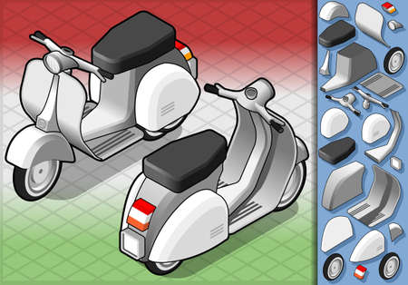 old motorcycle: Detailed illustration of a isometric white scooter in two position