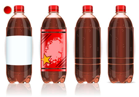 carbonated: Detailed illustration of a Four plastic bottles of cola with labels