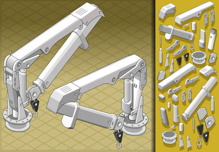Detailed illustration of a isometric mechanical arm in two positions Vector