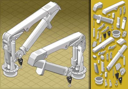 idraulico: Illustrazione dettagliata di un braccio meccanico isometrica in due posizioni Vettoriali