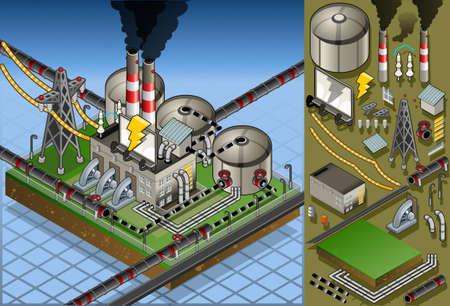 発電機: エネルギーの生産の等尺性石油工場の詳細なアニメーション  イラスト・ベクター素材