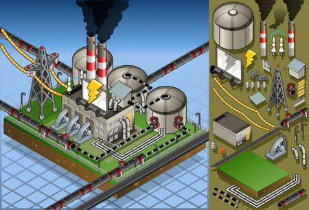 electric turbine: Detailed animation of a isometric petroleum plant in production of energy Illustration