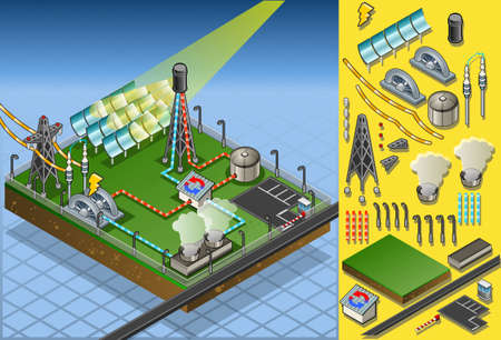 Detailed illustration of a isometric termo solar plant in production of energy Vector