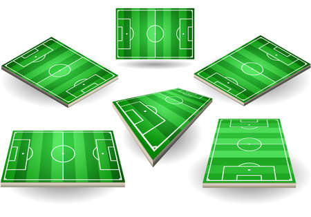 soccer stadium: Detailed illustration of a set of Soccer fields in six different positions