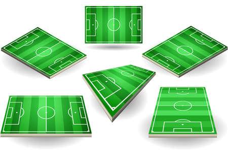 cancha de futbol: Ilustraci�n detallada de un conjunto de campos de f�tbol en seis posiciones diferentes Vectores