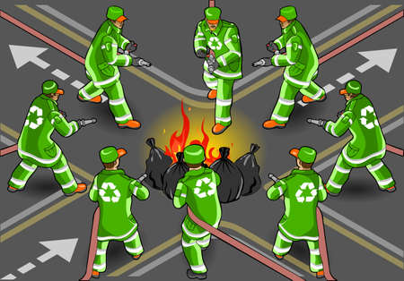 Detailed illustration of a isometric set of street sweeper man extinguishing the fire in eight positions Vector