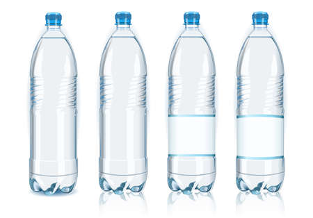 mineral water: Detailed illustration of a Four plastic bottles with generic labels