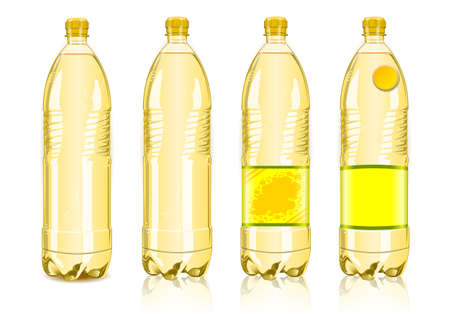 plastic bottles: Detailed illustration of a Four yellow plastic bottles with labels