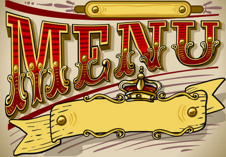 Detailed illustration of a vintage graphic element for menu Vector