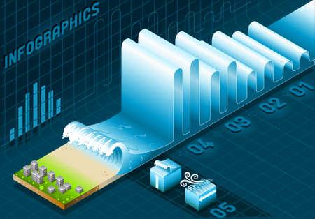 海洋情報グラフィックの詳細なイラスト波と都市要素の設定