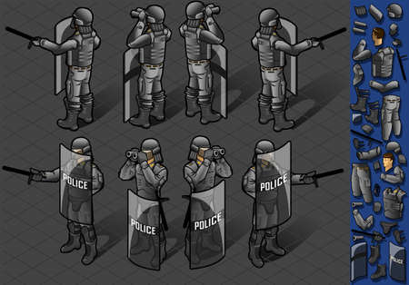 Detailed illustration of a isometric set of eight policemans standing Stock Vector - 16393190