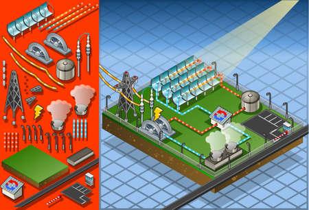 kraftwerk: Detaillierte Darstellung einer isometrischen termo Solaranlage in der Produktion von Energie Illustration