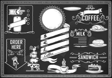 hand pointing: Detailed illustration of a vintage graphic element for bar menu on blackboard Illustration