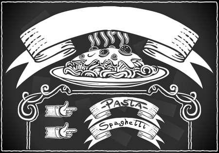 chef italiano: Ilustración detallada de un elemento gráfico del vintage de la barra de menú en la pizarra Vectores