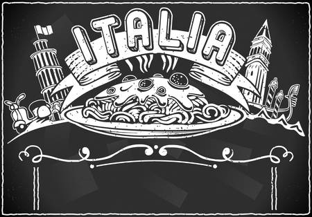 Detailed illustration of a vintage graphic element for italian first course menu on blackboard Vector