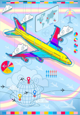 percentual: Detailed illustration of a infographic set elements with airplane in rainbow