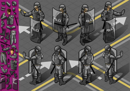 Detailed illustration of a isometric set of eight policemans standing Vector