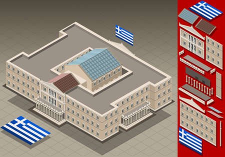 architrave: Detailed animation of a isometric Greek Parliament Illustration