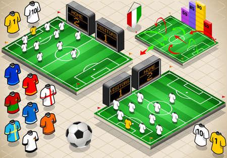 isom�trique: Illustration d�taill�e d'un ensemble d'informations graphique des terrains de soccer et des uniformes dans diff�rentes positions