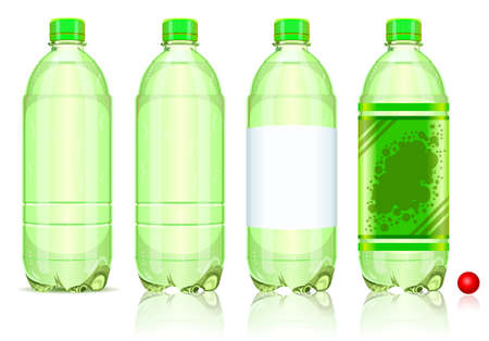 Detailed illustration of a Four Plastic Bottles of Carbonated Drink With Labels Stock Vector - 17414978