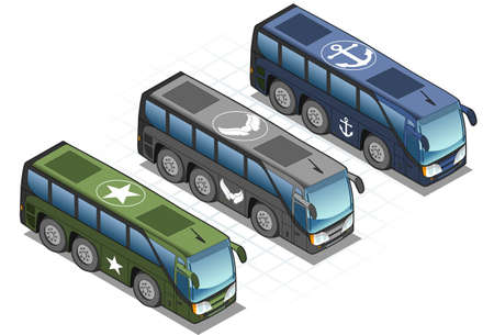 detailed illustration of a isometric set of military buses  Vector