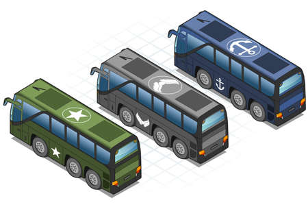 headlamp: detailed illustration of a isometric set of military buses