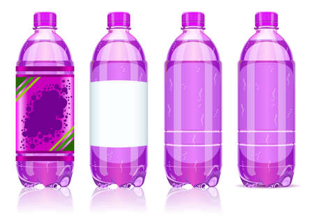 carbonated: Detailed illustration of a Four Plastic Bottles of Carbonated Drink With Labels