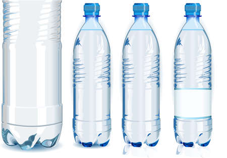 water bottle: Detailed illustration of a Four Water Plastic Bottles with Generic Label