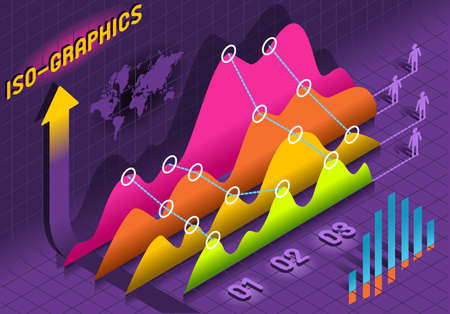 percentual: Detailed illustration of a Isometric Infographic  Histogram Set Elements in Various Colors