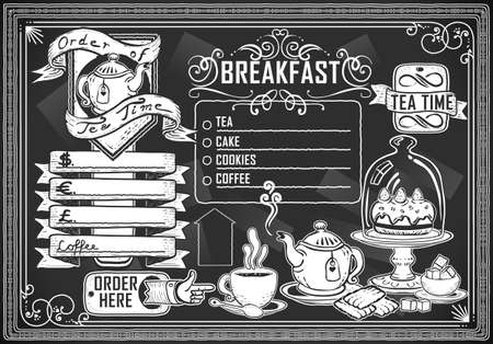 teapot: Detailed illustration of a vintage graphic element for bar menu on blackboard Illustration