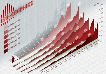 percentual: Detailed illustration of a infographic set elements in red