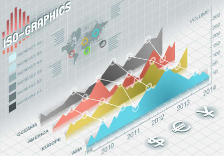 Detailed illustration of a infographic  histogram set elements in various colors Illustration