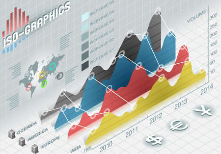 histogram: Detailed illustration of a infographic histogram set elements in various colors