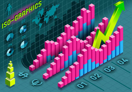 percentual: Detailed illustration of a Isometric Infographic Histogram