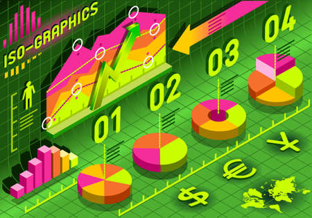 histogram: Detailed illustration of a Isometric Infographic Histogram