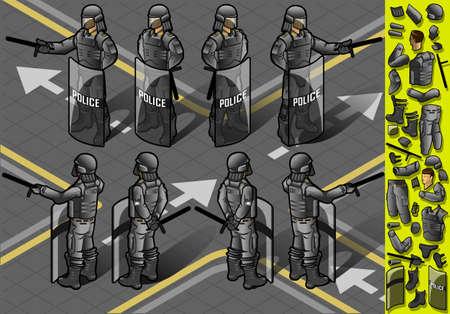 patrolman: Detailed illustration of a isometric set of eight policemans standing Illustration